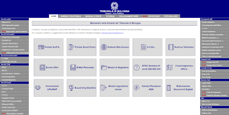 Area Intranet del Tribunale di Bologna